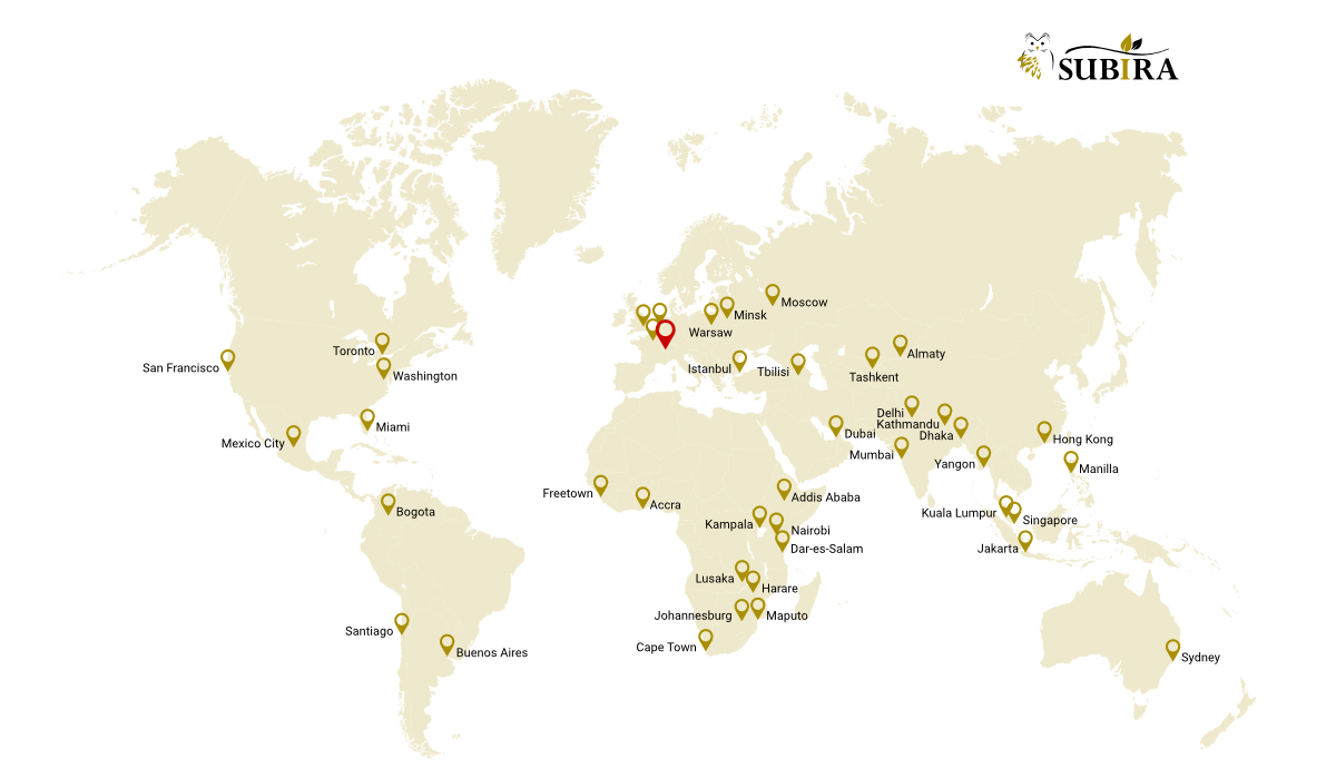 World map of Subira partners